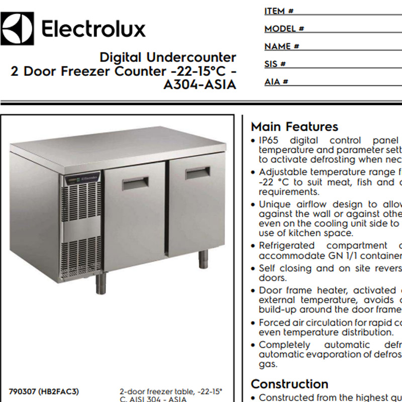 2 Door Freezer Counter